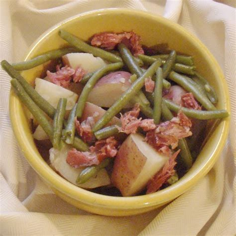 simple cottage ham potatoes and green beans