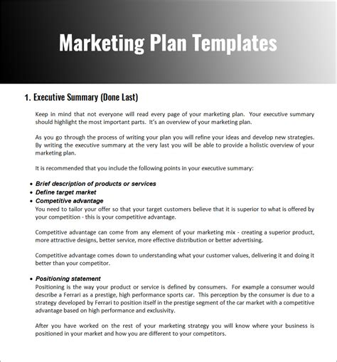 market plan template marketing strategy planning template pdf word