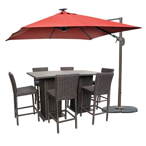 Patio Furniture Pub Table Sets Rustico Pub Table Set With Barstools 5 Outdoor Wicker Patio Furniture