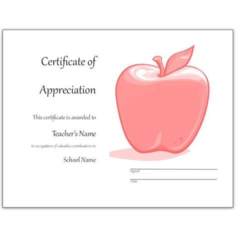 certificate of appreciation for teachers template free appreciation certificates word and