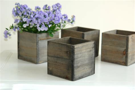 Vase Boxes by Wood Box Wood Boxes Woodland Planter Flower Rustic By