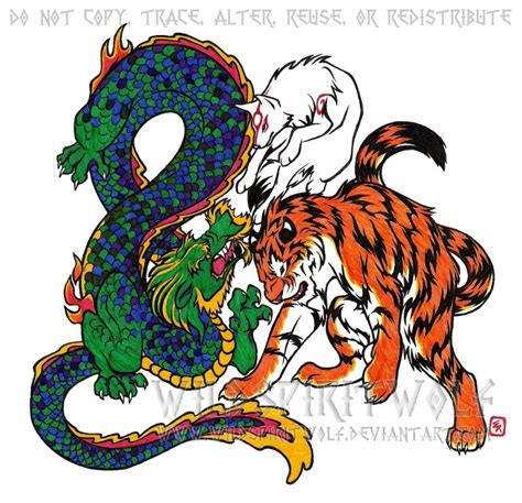 tiger and dragon tattoo designs wolf tiger color by wildspiritwolf on