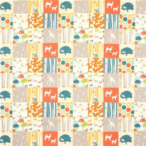 Patchwork Fabric Usa - patchwork forest stag deer animal organic fabric birch usa