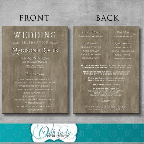 Handmade Wedding Programs - rustic wedding program diy printable