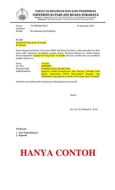 Contoh Surat Ijin by Surat Ijin Penelitian Fkipadibuana
