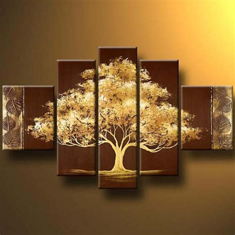 Golden Home Decor Santin Golden Tree Modern Canvas Wall Decor Landscape Painting Wall Wall Decor