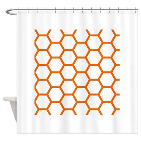 Orange And White Shower Curtain by Orange And White Honeycomb Shower Curtain By Allcolor