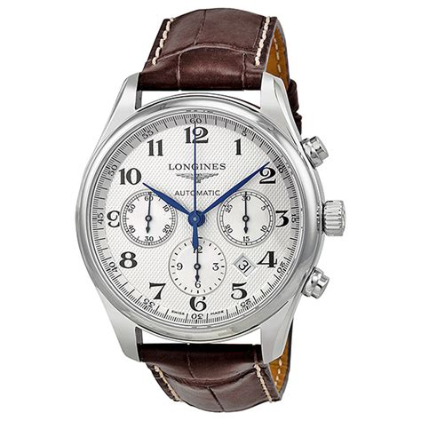longines master chronograph automatic silver s
