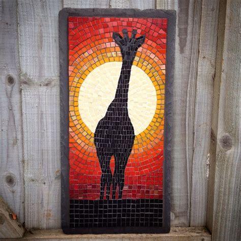 mosaic giraffe pattern glass mosaic on a slate base giraffe silhouette in front