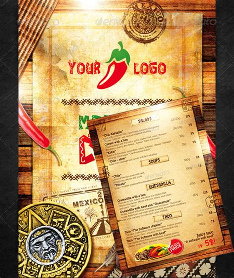 mexican restaurant menu templates watering restaurant menu designs entheos