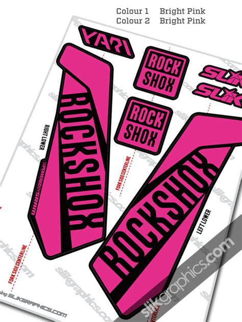 Rock Shox Pink Stickers by Rockshox Yari 2015 Style Decals Black Forks Slik Graphics