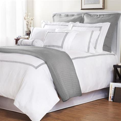 white and grey bedding platinum stripe baratto stitch full queen size 3 piece