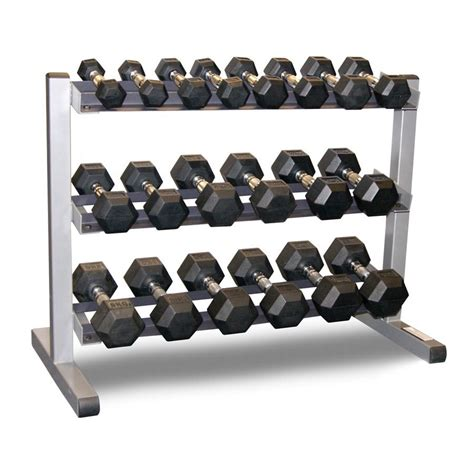 Dumbell 1 Set Solid 3 Tier Rack Bodypower 1 10kg Rubber Hex Dumbbell Set