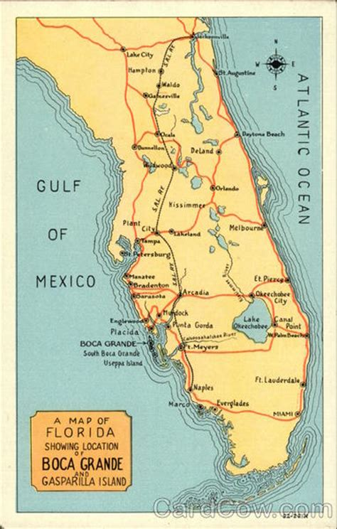 map of florida showing island map of florida showing location of boca grande and