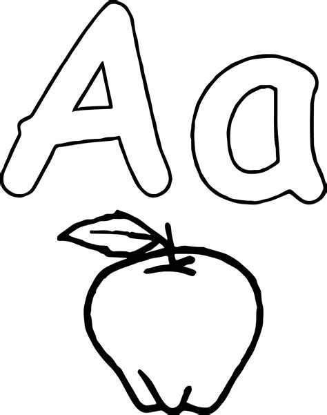aa apple coloring page wecoloringpage