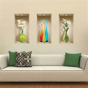 set 3 wall sticker 3d decals picture removable home