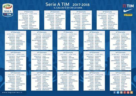 Calendario Serie A Tim Pdf Il Calendario Della Serie A 2017 2018 Da Scaricare
