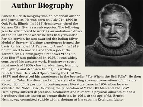 biography ernest hemingway the old man and the sea by ernest hemingway