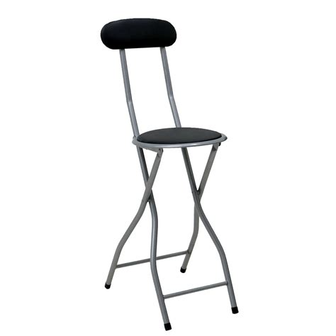 High Stool Chair With Back by Black Padded Folding High Chair Breakfast Kitchen Bar