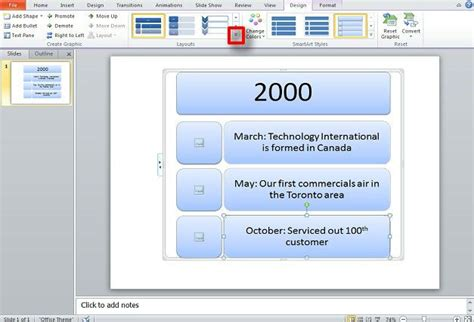 Create A Timeline In Powerpoint Using Smartart Graphics Smartart Timeline Powerpoint