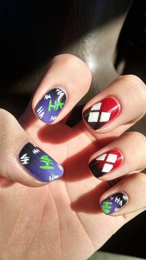 Joker Nail Designs nail designs decided to add a harley quinn twist to