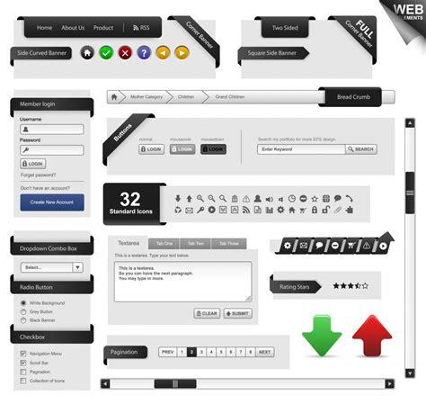web ui layout vector web design elements design inspiration vexels