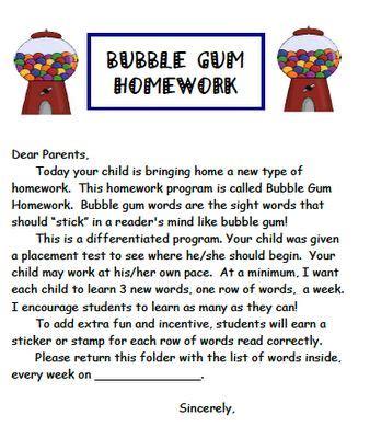 Parent Letter Math Facts sight words parents math facts and sight words