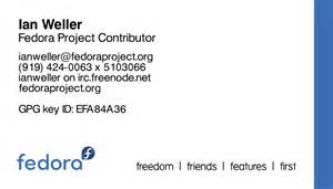 an exle of a business card business cards fedoraproject