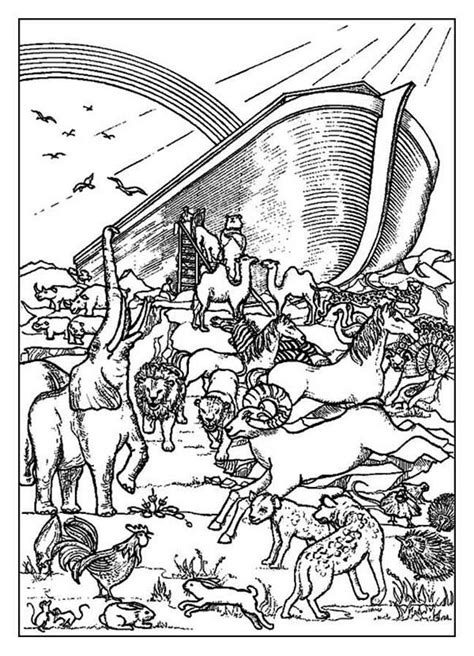 coloring pages of noah s ark with rainbow noahs ark a rainbow behind the noahs ark before the