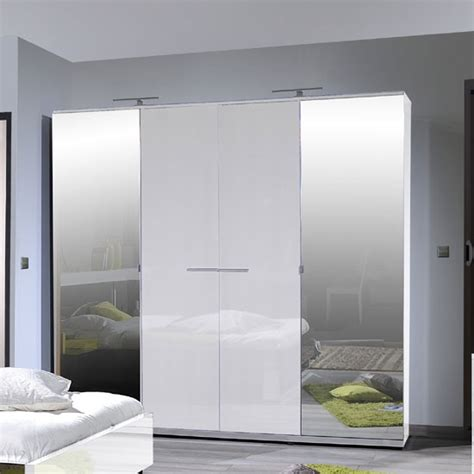 White Gloss Mirrored Wardrobes by Sinatra White High Gloss Finish 4 Door Wardrobe With 2