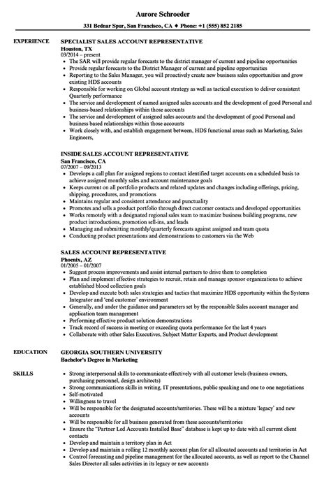 Account Representative Resume by Sales Account Representative Resume Sles Velvet