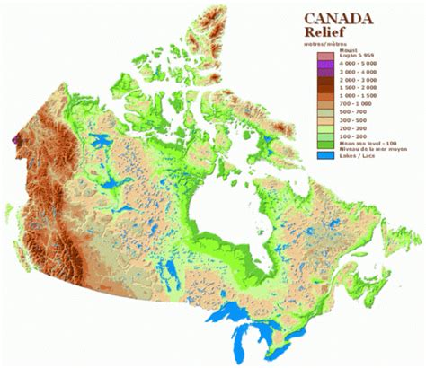 canadian map legend canada relief map