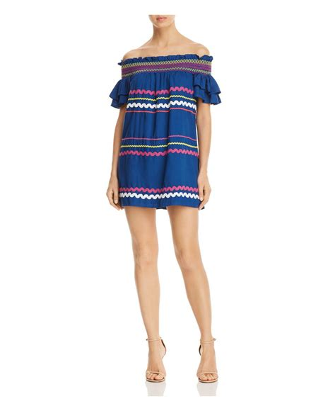 Marilyn Mini Dress marilyn the shoulder mini dress in blue lyst