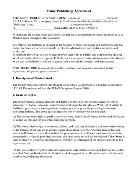 music agreement contract sle 7 exles in word pdf