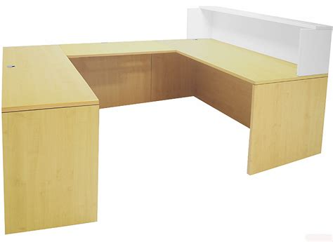 white two tone reception desks in stock free shipping