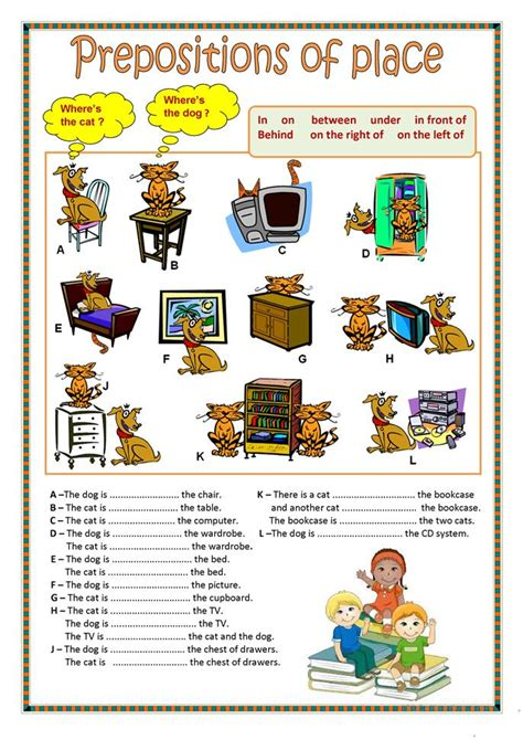 esl printable worksheets prepositions of place prepositions of place 1 worksheet free esl printable
