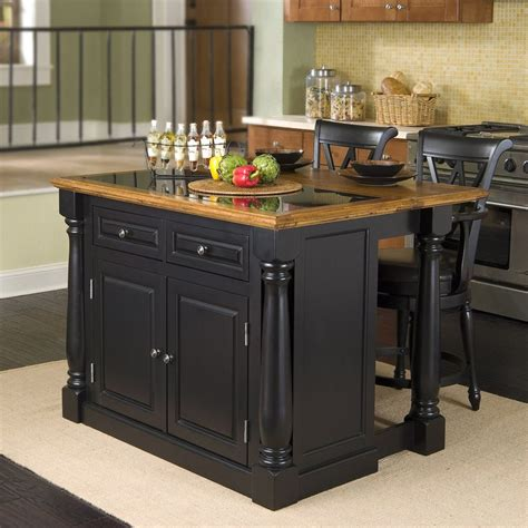 shop kitchen islands shop home styles black midcentury kitchen island with 2 stools at lowes