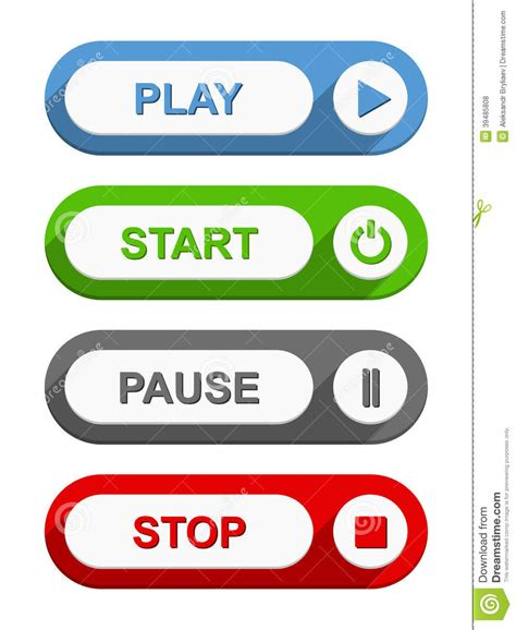 Stop Play by Play Start Pause And Stop Buttons Stock Vector Image