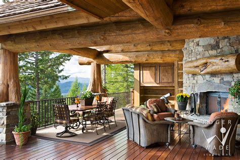 Log Patio by Log Home Deck Outdoor Spaces