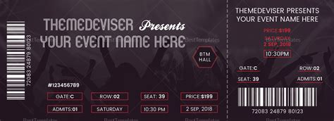 concert ticket template sle concert ticket design template in psd word