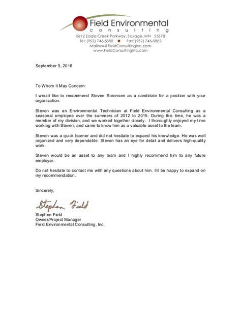 Recommendation Letter In Field letter of recommendation s field
