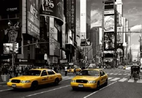 wall mural yellow taxi cabs photo wallpaper large size