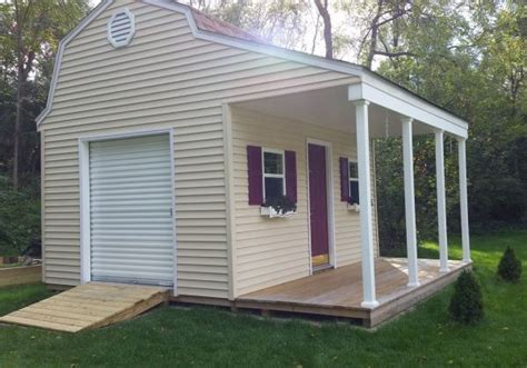 beautiful  barn shed  porch  vinyl siding