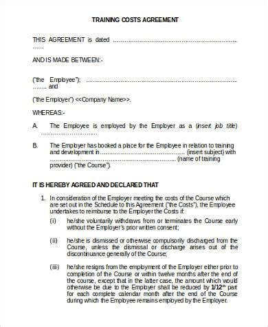 training agreement between employer and employee template