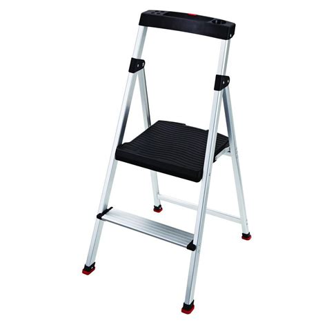 aluminum step stool 2 foot cosco 2 59 ft 3 step rolling step ladder with 300lb load