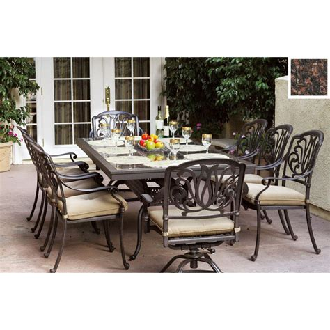 Lowes Patio Dining Sets Shop Darlee 9 Elisabeth Cushioned Cast Aluminum Patio Dining Set At Lowes