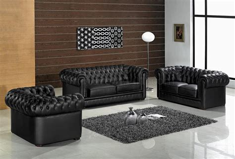 Leather Ultra Modern 3 Piece Living Room Set Paris Black Black Living Room Set