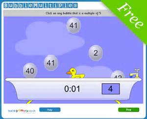 bubble multiples times tables game for ks1 and ks2