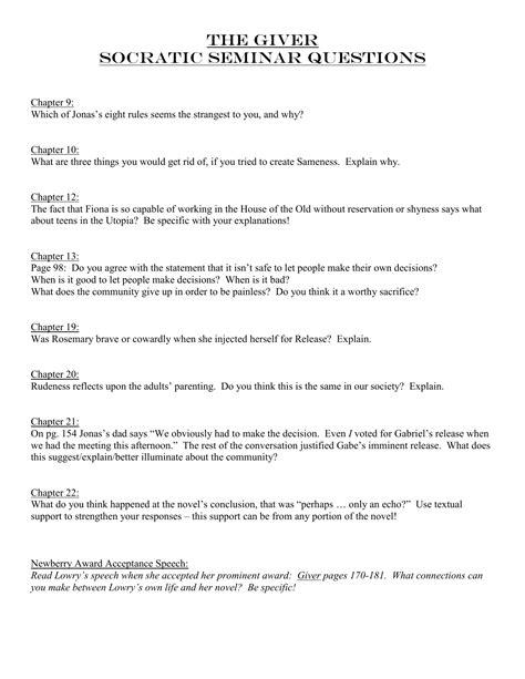 The Giver Socratic Seminar Questions