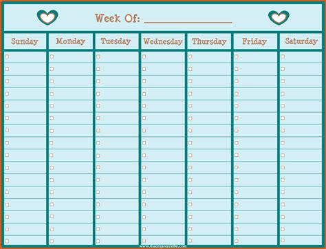 1 week calendar template days of the week calendar printable calendar template 2016